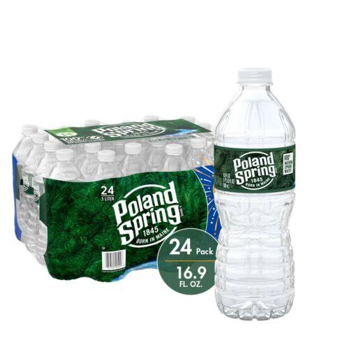 (24 Plastic Bottles) Poland Spring 100% Natural Spring Water 16.9 oz ( 500mL )