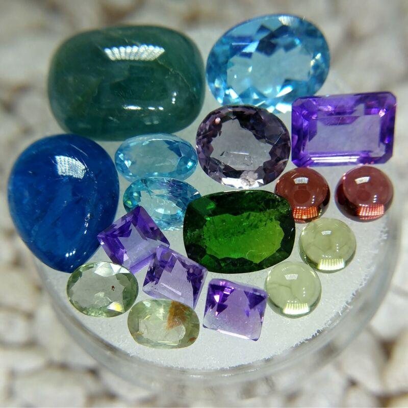 Gemstone Lot Grandidierite Topaz Apatite Spinel Zircon Sapphire Diopside Garnet