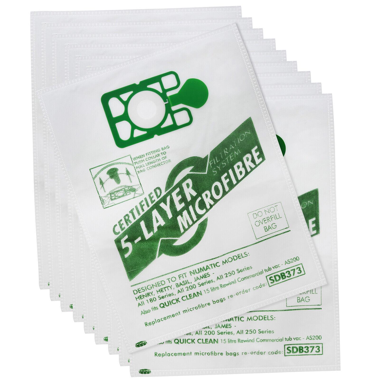 Dust Bags x 10 for Numatic Hetty Harry James HET200 HHR200 Vacuum Microfibre