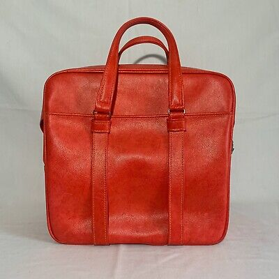 Vtg Red1960's Samsonite Silhouette Large Carry On Bag Soft Luggage Tote Pin up