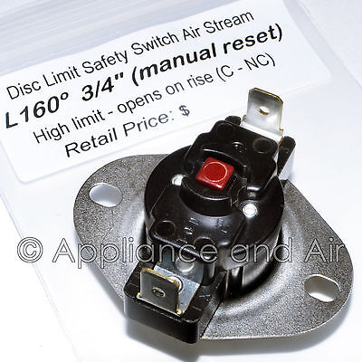 47 25118 01 rheem ruud hi limit switch l160 manual reset gas furnace ebay