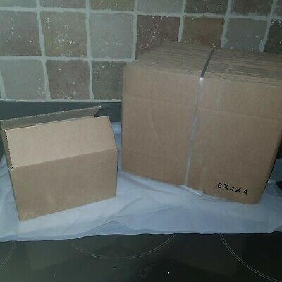 50 x 6x4x4 BROWN SHIPPING CARDBOARD BOXES ROYAL MAIL POSTAL GIFT PACKET PARCEL