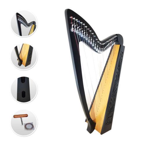 27 Strings Harp Celtic Irish highland Hand Made Rosewood Black FREE Tuning Key
