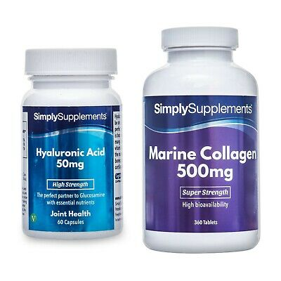 Hyaluronic Acid 50mg 60 Capsules+Marine Collagen Plus 500mg 360 Tablets *BUNDLE - Marin 60 Tablets