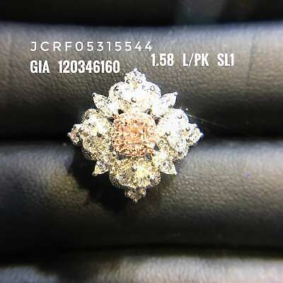 Natural Light Pink Diamond Solitaire Ring 1.58 Ct Radiant Cut 18K White Gold GIA 7
