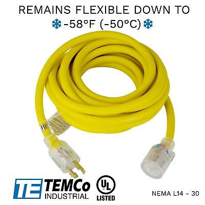 Temco 30ft Cold Weather Generator Cord Yellow Nema L14-30 125250v 30a Ul