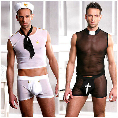 Gay Male Halloween Costumes (Men's Gay Sailor Vicar Halloween Fancy Dress Outfit -Wiggle it Costume M &)