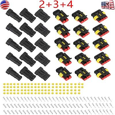 15kits 234 Pin Way Car Super Seal Waterproof Electrical Wire Connector Plug Us