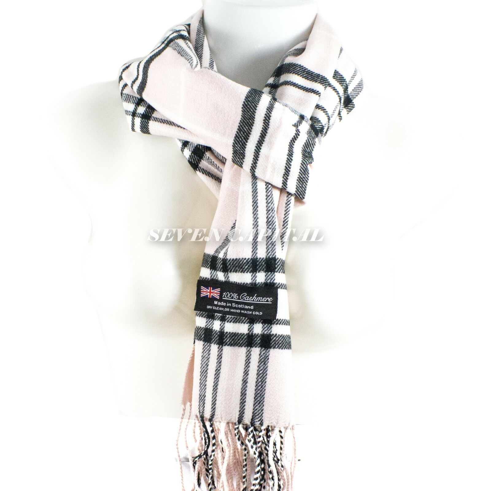Mens Womens Winter Warm SCOTLAND Made 100% CASHMERE Scarf Scarves Plaid Wool 18. Plaid: Light Pink/White