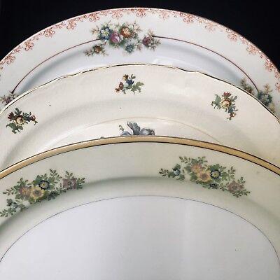 3 VTG Mismatched Shower Bridal Tea Platters, Shabby, Cottage, Roses Estate #20
