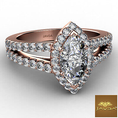 Halo Split Shank French Pave Marquise Diamond Engagement Ring GIA H VVS2 1.75Ct 9