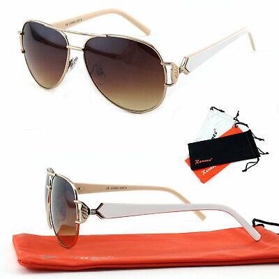 Damen Sonnenbrille Pilotenbrille breiter Bügel Strass Gold Braun Weiß 80er B4 A