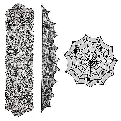 3 Stücke Halloween Dekorationen Runde Spitze Tischdecke Topper Schwarz Spinne