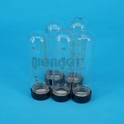 Lot5 50ml 30x105mm Clear Glass Test Tube Round Bottom Graduated With Screw Cap