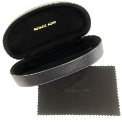 New Michael Kors Sunglasses Hard Clamshell Brown Case w/ Cleaning Lens Cloth