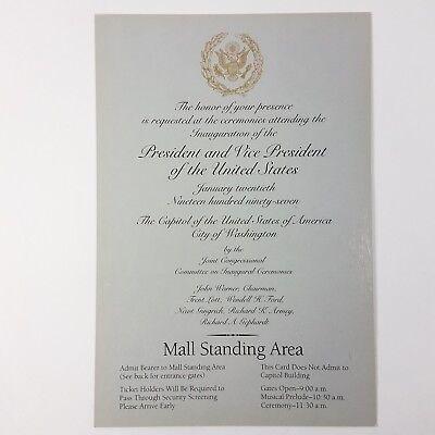 1997 Bill Clinton Presidential Inauguration Invitation Mall Standing (Clinton Mall)