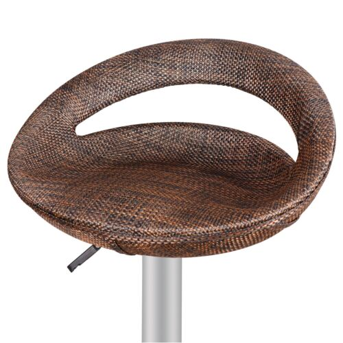 6Pcs Wicker Bar Stool Adjustable Height Swivel Counter Pub Chair Modern Brown Benches, Stools & Bar Stools