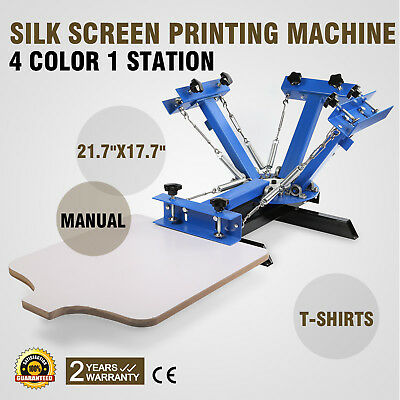 4 Color 1 Station Silk Screen Printing Machine Press Equipment T-shirt Diy