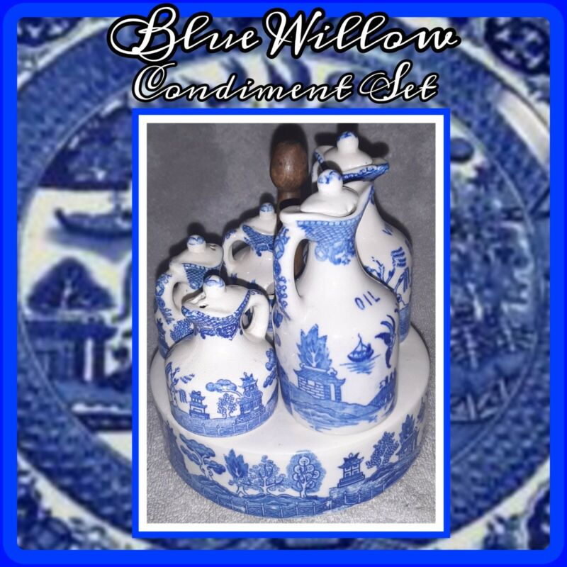 Vintage Made in Japan COMPLETE BLUE WILLOW CONDIMENT SET Japanese PAGODA FLOW