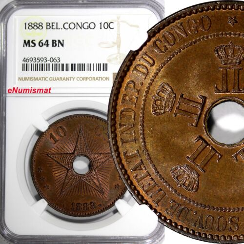 Belgian Congo Free State Leopold II Copper 1888 10 Centimes NGC MS64 BN KM#4