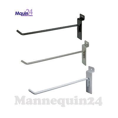 Slatwall Hooks For Slat Wall 6 - Black White Or Chrome - Free Shipping