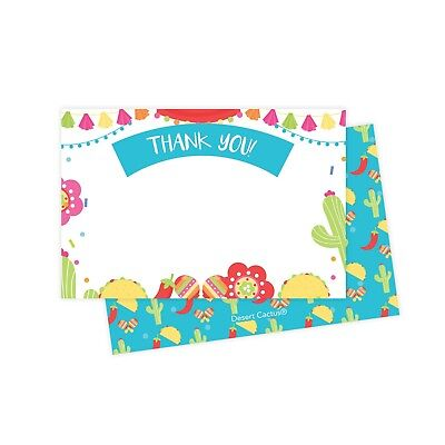 Fiesta Thank You Cards 25 Ct w/ Envelopes & Seals Stickers Birthday Party](Birthday Thank You Cards)