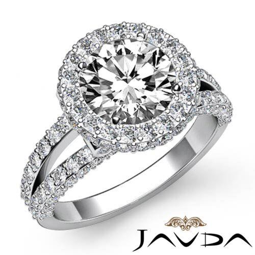 2.9ct Round Cut Diamond Halo Pave Bezel Set Engagement Ring GIA F VS2 Platinum