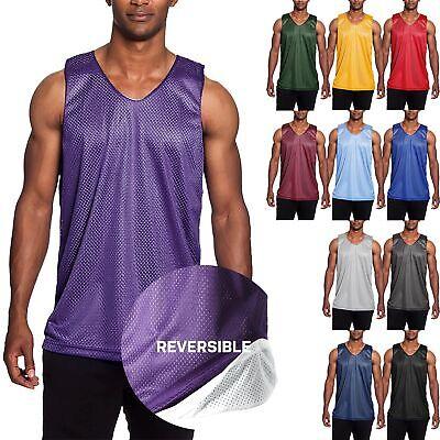 Mens Mesh Tank Top Basketball Jersey T Shirts Team Soccer Premium Reversible