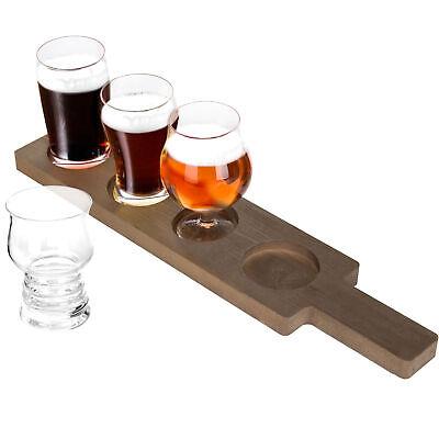 Variety Craft Beer Tasting Flight Set with 4 Glasses & Wood Paddle Serving Tray (Beer Tasting Flight Set)