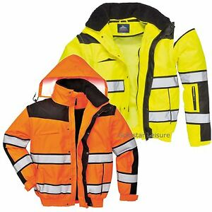 Portwest HI VIS Classic Bomber Jacket Bodywarmer Zip-Out Sleeves Hood S-4XL C466