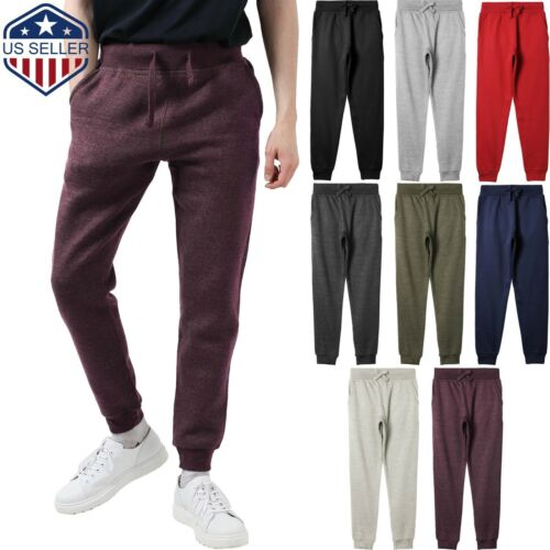 Mens Basic Jogger Pants Fleece Sweatpants Track Trouser Slim Fit Hipster Gym