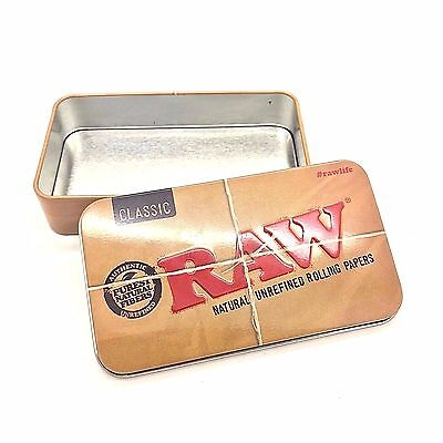RAW Tin Rolling Papers Printed Tobacco Tins Case GENUINE Paper Storage Box