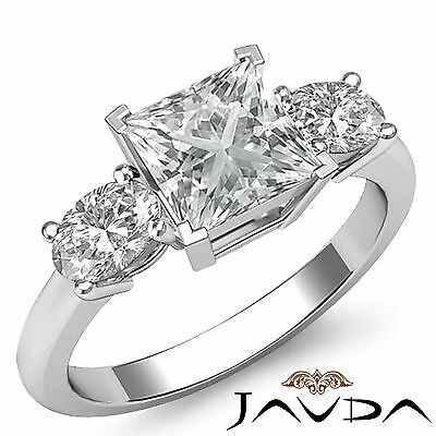 Classic 3 Stone Princess Diamond Engagement Prong Setting Ring GIA F SI1 1.5 Ct
