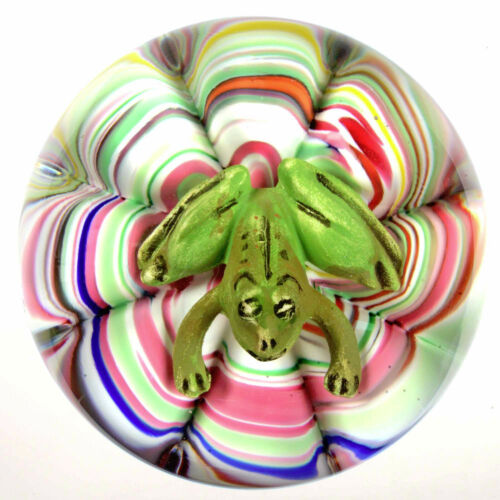 Signed JOE ST CLAIR Green Frog on a Striped Crimp Cushion