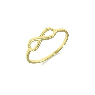 10K Solid Yellow Gold Infinity Ring - Love Finger Knuckle Midi Thumb Band Women 10k Gold Love Ring