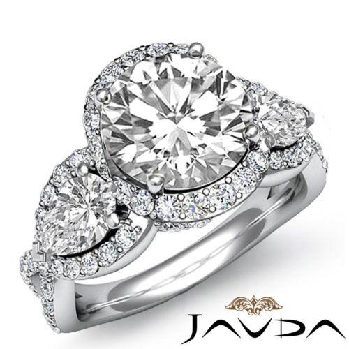 3ct Round Diamond 3 Stone Cross Shank Engagement Ring GIA F VS1 14k White Gold