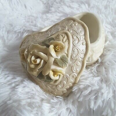 Small Ceramic Jewelry Heart Box Ivory with Roses