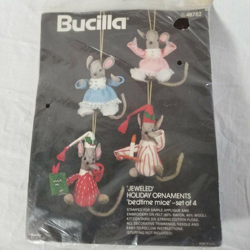 Bedtime Mice Bucilla 4 Jeweled Holiday Ornaments Kit 48782 Felt NIP