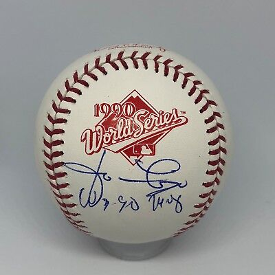 Jose Rijo signed Rawlings 1990 Official World Series Baseball JSA Reds MVP A144