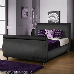 Limcho chenille 3ft 3ft6 4ft 4ft6 5ft 6ft sleigh bed for Cheap 4 foot divan beds