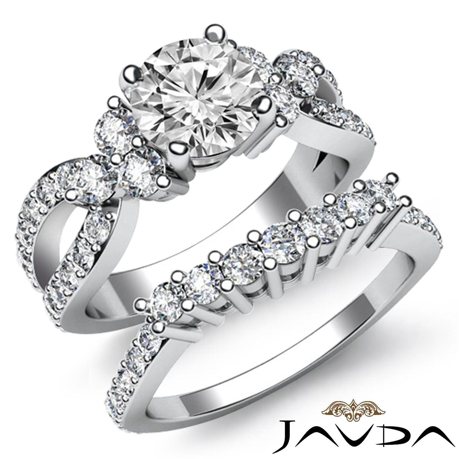Vintage 3.05ct Round Shape Diamond Engagement Bridal Set GIA F VS2 Platinum Ring