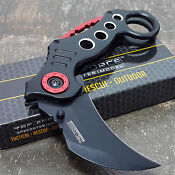 BLACK KARAMBIT SPRING ASSISTED POCKET KNIFE Tactical Open Folding Claw Blade NE