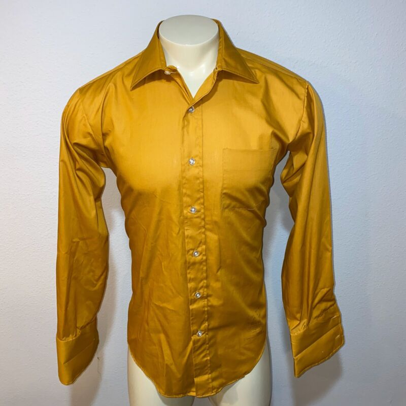 Vtg 60s 70s GOLDEN VEE Perma Press Dress Shirt MUSTARD Disco French Cuff Mens 16