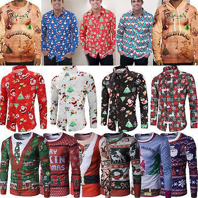 2020 Männer Weihnachten T-shirt Langärmlig Weihnachtsmann Kostüm Shirt Top - Weihnachtsmann Kostüm T Shirt