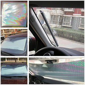 retractable car suv front rear windshield sunshade shade shield uv visor curtain ebay. Black Bedroom Furniture Sets. Home Design Ideas