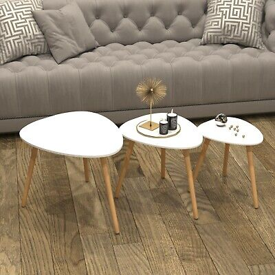 Scandinavian Nest of 3 Tables Coffee Side End Lamp Set Modern Furniture