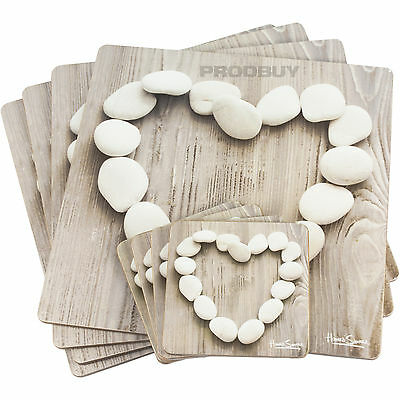 Set of 4 Howard Shooter Pebble Hearts Placemats & Coasters Mats Dinner Table