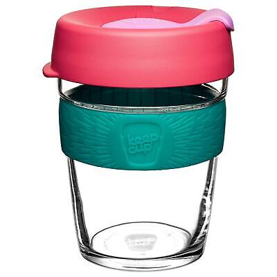 KeepCup Brew Reusuable Glass Coffee Cup Mug w/ Silicone Band 340ml 12oz Velocity