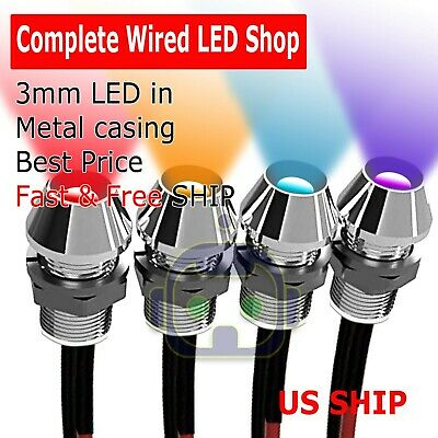 2~10 PCS 3mm Wired LED Diode Metal Case PANEL INDICATOR WARNING LIGHT 12V LAMP - Led 10 Diode