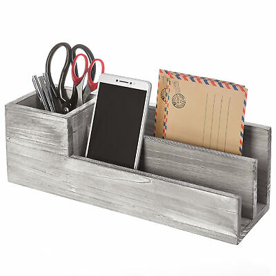 Rustic Whitewashed Gray Wood Office Supplies Caddy 2 Slot Letter Mail Organizer